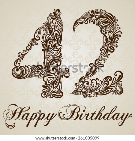 Happy birthday card with number forty-two. Vector Design Background. Swirl Style Illustration. - stock vector