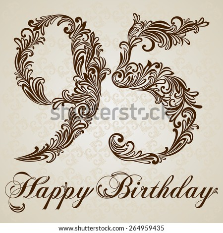 Happy birthday card with number Ninety-five. Vector Design Background. Swirl Style Illustration. - stock vector