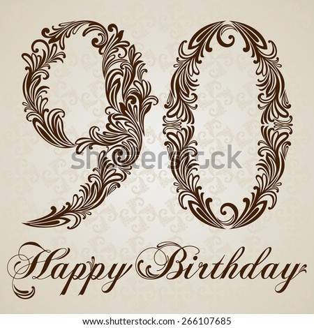 Happy birthday card with number Ninety.  Vector Design Background. Swirl Style Illustration. - stock vector