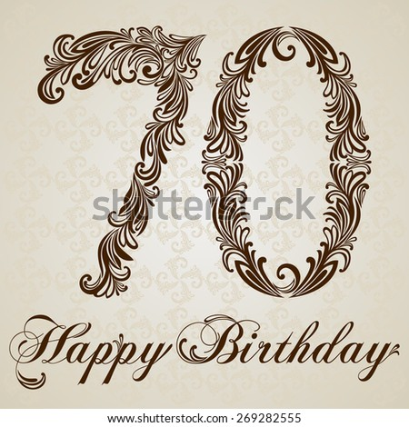 Happy birthday card with number Seventy. Vector Design Background. Swirl Style Illustration. - stock vector