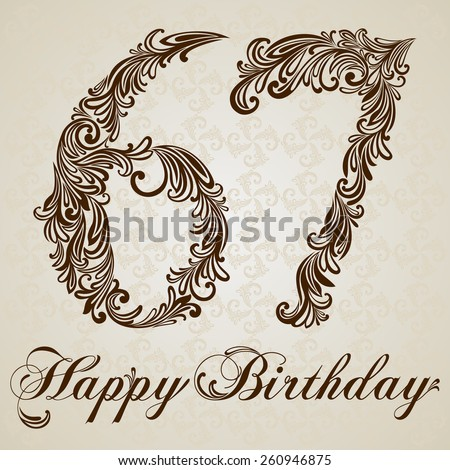 Happy birthday card with number  sixty seven. Vector Design Background. Swirl Style Illustration. - stock vector