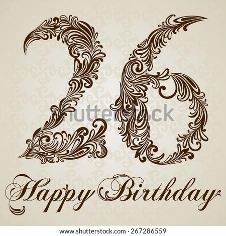 Happy birthday card with number Twenty six. Vector Design Background. Swirl Style Illustration. - stock vector