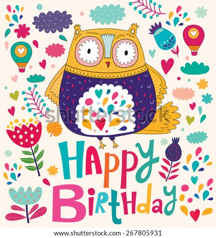 Happy Birthday card with owl - stock vector