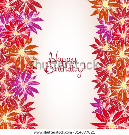 Happy Birthday Card Red Flower Side Stock Vector Royalty Free