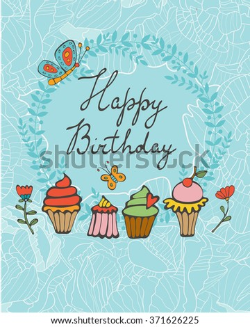 Happy birthday card with sweet dessert. Illustration in vector format - stock vector