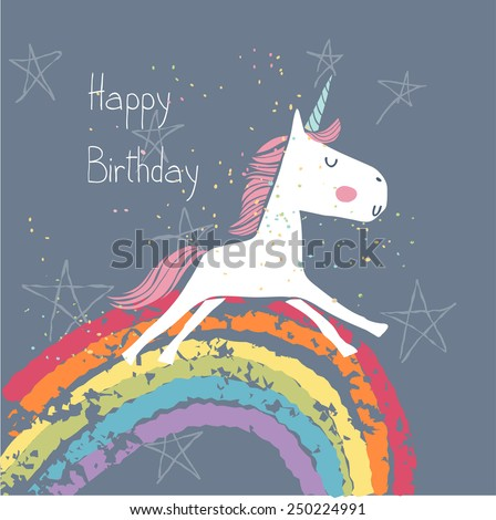 happy birthday card with unicorn - stock vector