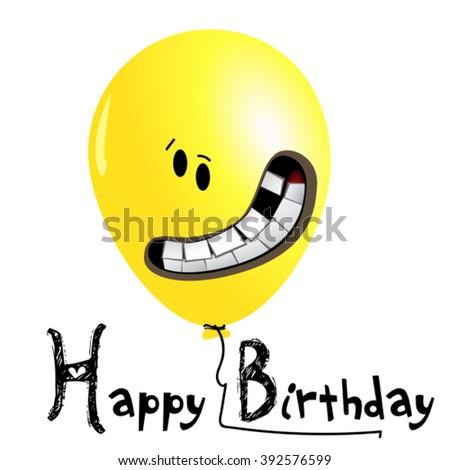 Happy Birthday card yellow balloons smile - stock vector