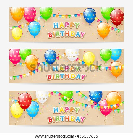 Happy Birthday cards, Birthday cards with colorful balloons, multicolored confetti, holiday pennants and the inscription Happy Birthday on grunge beige background, illustration. - stock vector