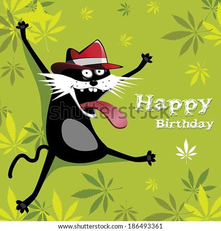 Happy Birthday cat and flowers - stock vector