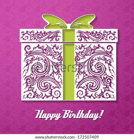 Happy Birthday! Celebration decorative background with gift box and place for your text. Vector Illustration  - stock vector