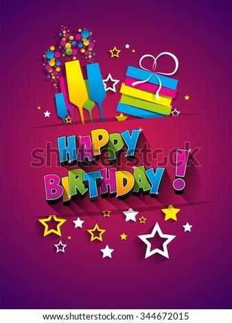 Happy Birthday celebration greeting card vector Illustration - stock vector