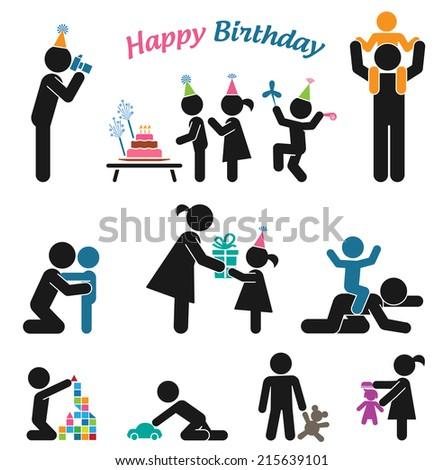 Happy birthday. Childhood vector set. Pictogram icon set. Children birthday party.   - stock vector