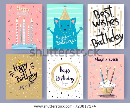 Happy birthday collection creative greeting postcards stock vector happy birthday collection of creative greeting postcards with inscriptions vector illustration of cake with candle bookmarktalkfo Choice Image