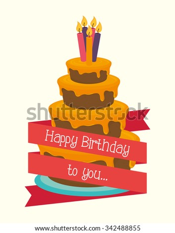 Happy birthday colorful card design, vector illustration graphic