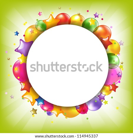Happy Birthday Colorful Card With Speech Bubble, Vector Illustration
