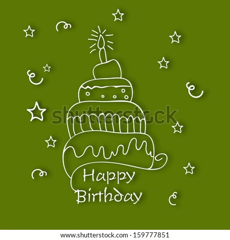 Happy birthday concept with cake and candle on green background.  - stock vector