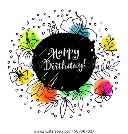 Happy Birthday Creative Artistic Trendy Greeting Stock Vector