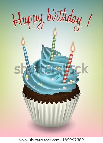 Happy birthday cupcake - stock vector