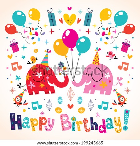 Happy Birthday cute elephants card - stock vector