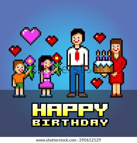 happy birthday daddy-pixel art style vector layers illustration - stock vector