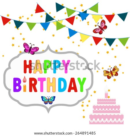 Happy birthday decoration set with butterfly. - stock vector