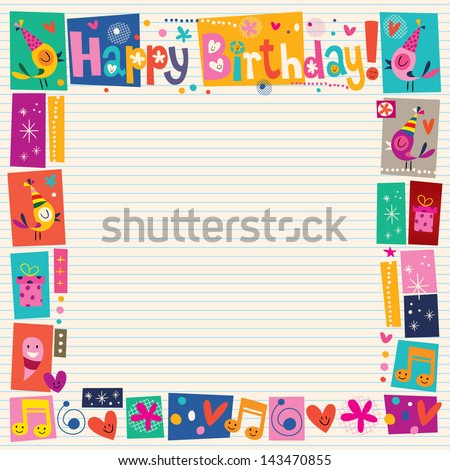 Happy Birthday decorative border - stock vector