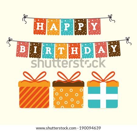 Happy birthday design over beige background ,vector illustration - stock vector