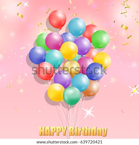 happy birthday design template bunch colorful stock vector 639720421