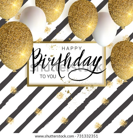 Happy Birthday DesignWhite And Golden Glitter Balloons Calligraphy Inscription Vector Illustration