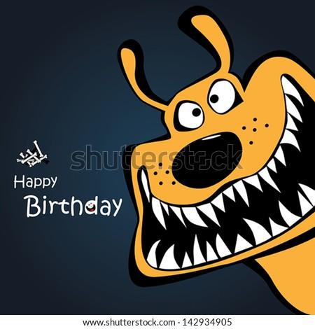 Happy Birthday dog card - stock vector