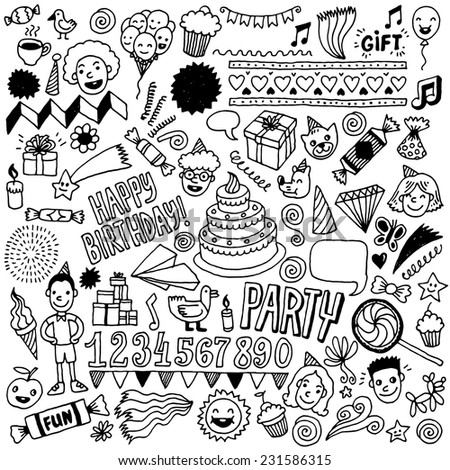 Happy birthday doodle set 1. Hand drawn vector illustration. - stock vector