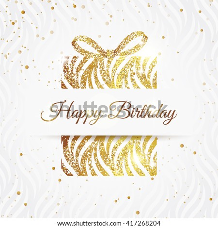 Happy birthday elegant card golden gift stock vector 417268204 happy birthday elegant card with golden gift and bow birthday gold greeting card vector m4hsunfo