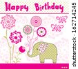 happy birthday elephant vector illustration - stock vector