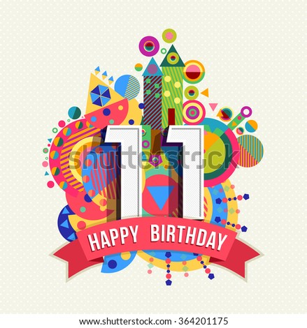 Happy Birthday Number 11 Greeting Card Vector 419842159 – 11th Birthday Cards