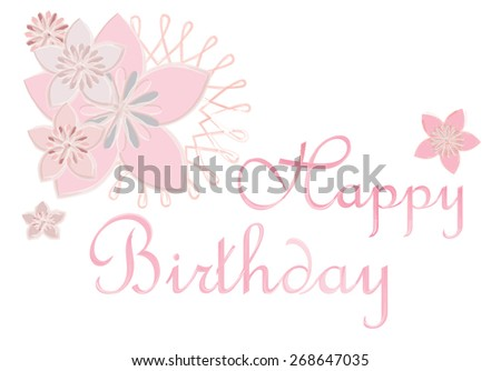 Happy Birthday end cherry blossoms handwritten watercolor style vector illustration. - stock vector