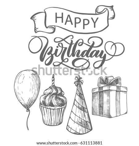 Happy Birthday Fancy Vintage Hand Lettering Ink Calligraphy Vector Type Design With Ribbon
