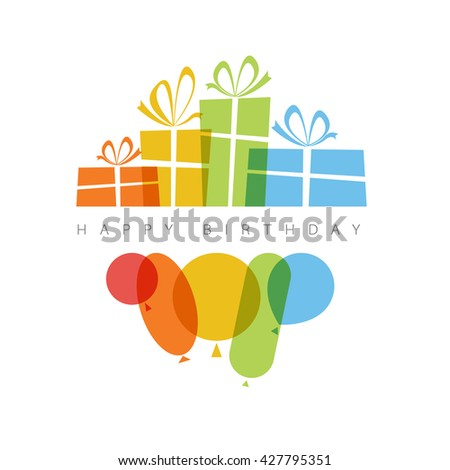 Happy birthday fresh vector illustration with presents and balloons - red, yellow, green, blue. Isolated on white background with place for content text.