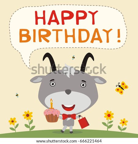 Happy Birthday Funny Goat Birthday Cake Vector 666221464 – Goat Birthday Card