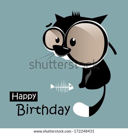 Happy Birthday funny little cat smile - stock vector