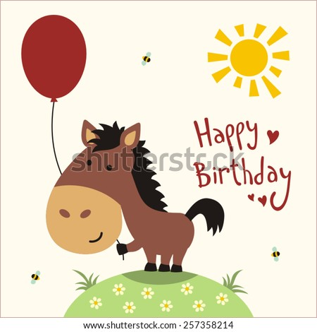 Happy birthday funny little horse balloon stock vector 257358214 funny little horse with balloon handwritten text greeting card bookmarktalkfo Image collections