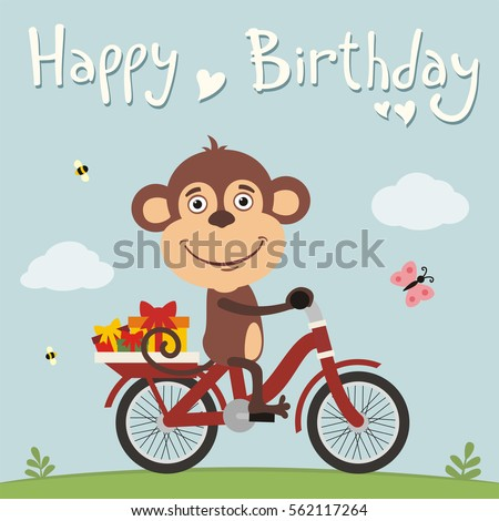 Happy Birthday Funny Monkey On Bike Vector 562117264 – Funny Monkey Birthday Cards
