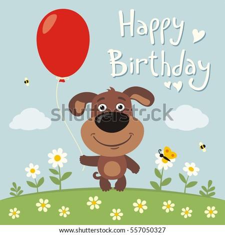 Happy Birthday Funny Puppy Dog Red Vector 557050327 – Happy Birthday Dog Card