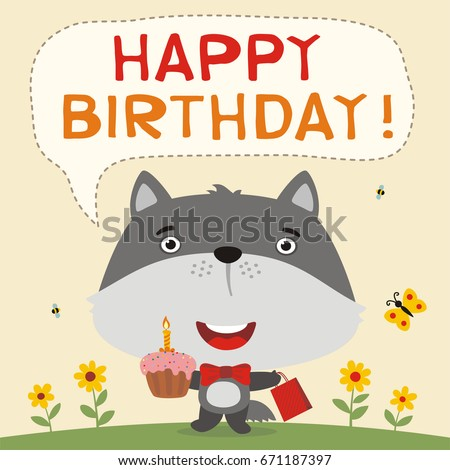 happy birthday funny wolf cake gift stock vector royalty free