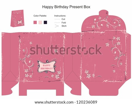 Happy Birthday Gift Box Template - stock vector