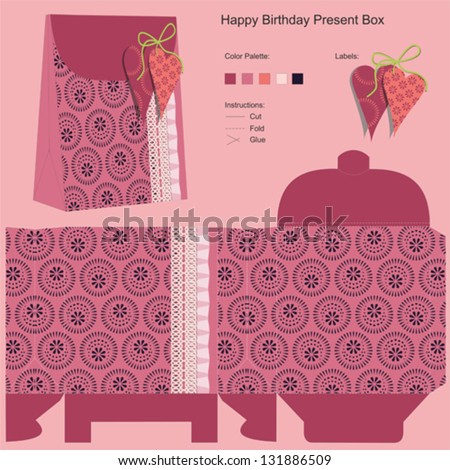 Happy Birthday Gift Box Template - stock vector
