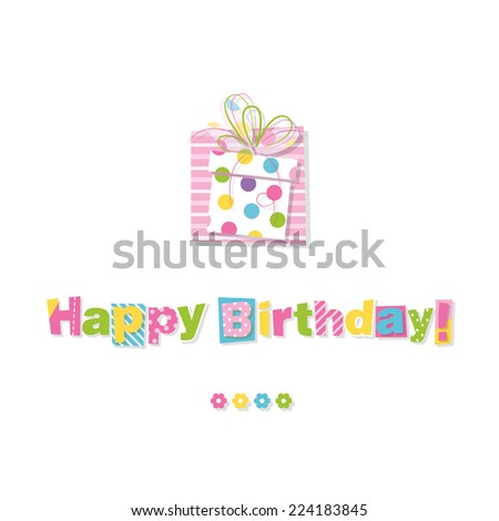 happy birthday gift greeting card - stock vector