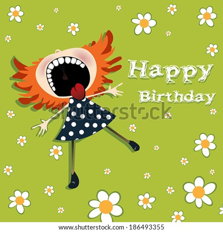 Happy Birthday  girl and flowers - stock vector