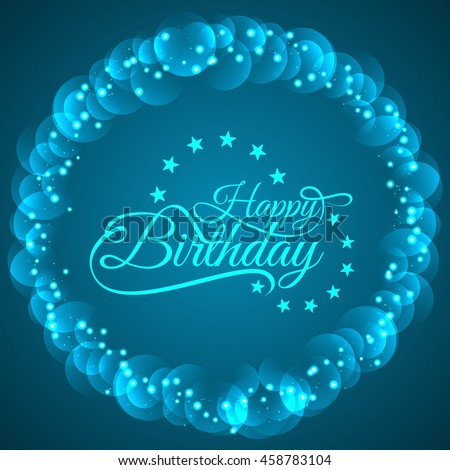 Happy Birthday Glittering Blue Color Text Design Background
