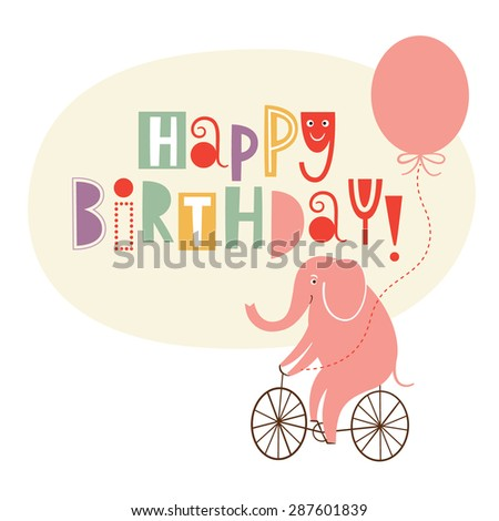 Happy Birthday Greeting Card - stock vector