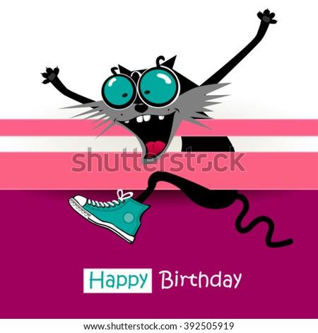 Happy Birthday greeting card - stock vector